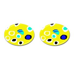 Yellow abstract pattern Cufflinks (Oval)