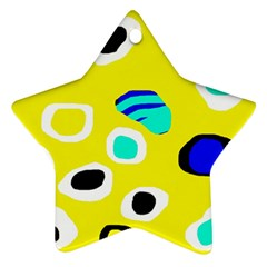 Yellow abstract pattern Star Ornament (Two Sides)