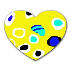 Yellow abstract pattern Heart Mousepads