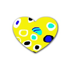 Yellow abstract pattern Rubber Coaster (Heart)
