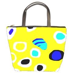 Yellow abstract pattern Bucket Bags