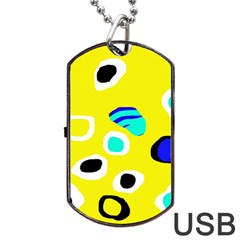 Yellow abstract pattern Dog Tag USB Flash (One Side)
