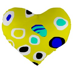 Yellow abstract pattern Large 19  Premium Heart Shape Cushions