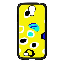 Yellow abstract pattern Samsung Galaxy S4 I9500/ I9505 Case (Black)