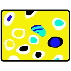 Yellow abstract pattern Double Sided Fleece Blanket (Large)
