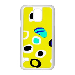 Yellow abstract pattern Samsung Galaxy S5 Case (White)