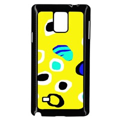 Yellow abstract pattern Samsung Galaxy Note 4 Case (Black)
