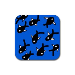 Cute fishes Rubber Square Coaster (4 pack)