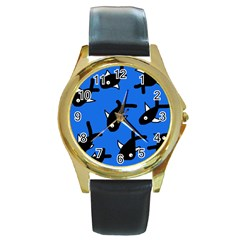 Cute fishes Round Gold Metal Watch