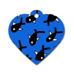 Cute fishes Dog Tag Heart (One Side)