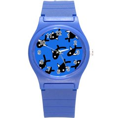 Cute fishes Round Plastic Sport Watch (S)