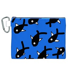 Cute fishes Canvas Cosmetic Bag (XL)