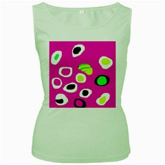 Pink abstract pattern Women s Green Tank Top