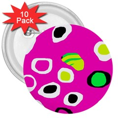 Pink abstract pattern 3  Buttons (10 pack)