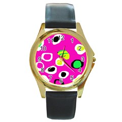 Pink abstract pattern Round Gold Metal Watch