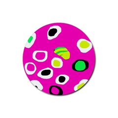 Pink abstract pattern Rubber Coaster (Round)