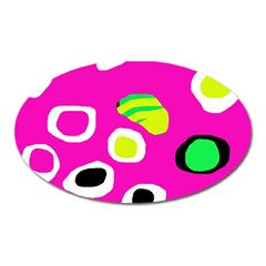 Pink abstract pattern Oval Magnet