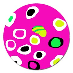 Pink abstract pattern Magnet 5  (Round)