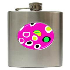 Pink abstract pattern Hip Flask (6 oz)