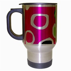 Pink abstract pattern Travel Mug (Silver Gray)