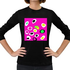 Pink abstract pattern Women s Long Sleeve Dark T-Shirts