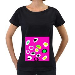 Pink abstract pattern Women s Loose-Fit T-Shirt (Black)