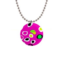 Pink abstract pattern Button Necklaces