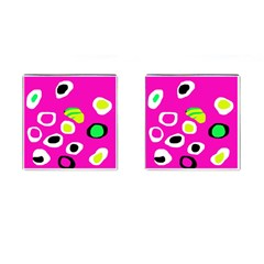 Pink abstract pattern Cufflinks (Square)