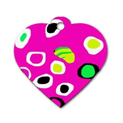 Pink abstract pattern Dog Tag Heart (Two Sides)