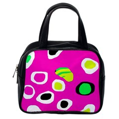 Pink abstract pattern Classic Handbags (One Side)