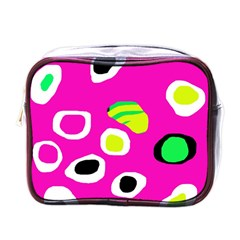 Pink abstract pattern Mini Toiletries Bags