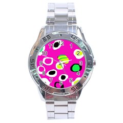 Pink abstract pattern Stainless Steel Analogue Watch