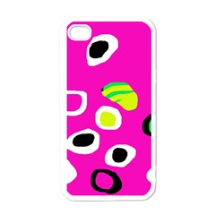 Pink abstract pattern Apple iPhone 4 Case (White)