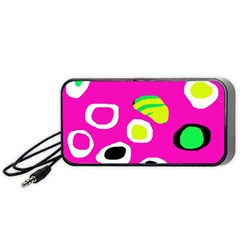 Pink abstract pattern Portable Speaker (Black)