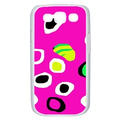 Pink abstract pattern Samsung Galaxy S III Case (White)