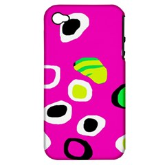 Pink abstract pattern Apple iPhone 4/4S Hardshell Case (PC+Silicone)