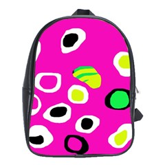 Pink abstract pattern School Bags (XL)