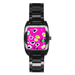 Pink abstract pattern Stainless Steel Barrel Watch