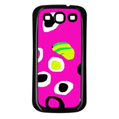 Pink abstract pattern Samsung Galaxy S3 Back Case (Black)