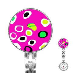 Pink abstract pattern Stainless Steel Nurses Watch