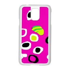 Pink abstract pattern Samsung Galaxy S5 Case (White)