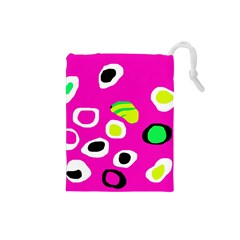 Pink abstract pattern Drawstring Pouches (Small)