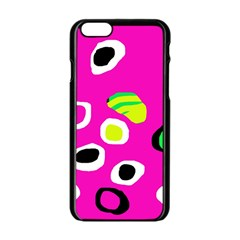 Pink abstract pattern Apple iPhone 6/6S Black Enamel Case