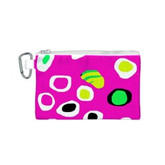 Pink abstract pattern Canvas Cosmetic Bag (S)