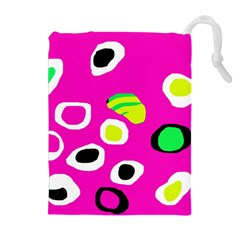 Pink abstract pattern Drawstring Pouches (Extra Large)