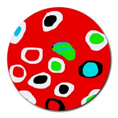 Red abstract pattern Round Mousepads