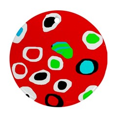 Red abstract pattern Ornament (Round)