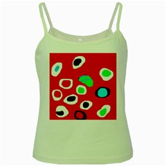 Red abstract pattern Green Spaghetti Tank