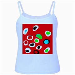 Red abstract pattern Baby Blue Spaghetti Tank