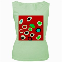 Red abstract pattern Women s Green Tank Top